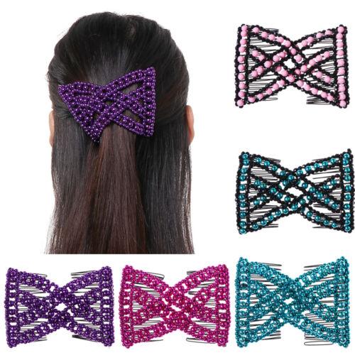 Headwear Women Metal  Slide  Bead Hairpins  Stretchy  Hair Clip  Double Comb