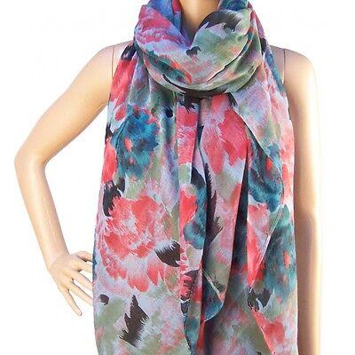 Schal Tuch Fashion Edel Floral Blumen Tulpen Grün Mint *NEU* XXL Luxus