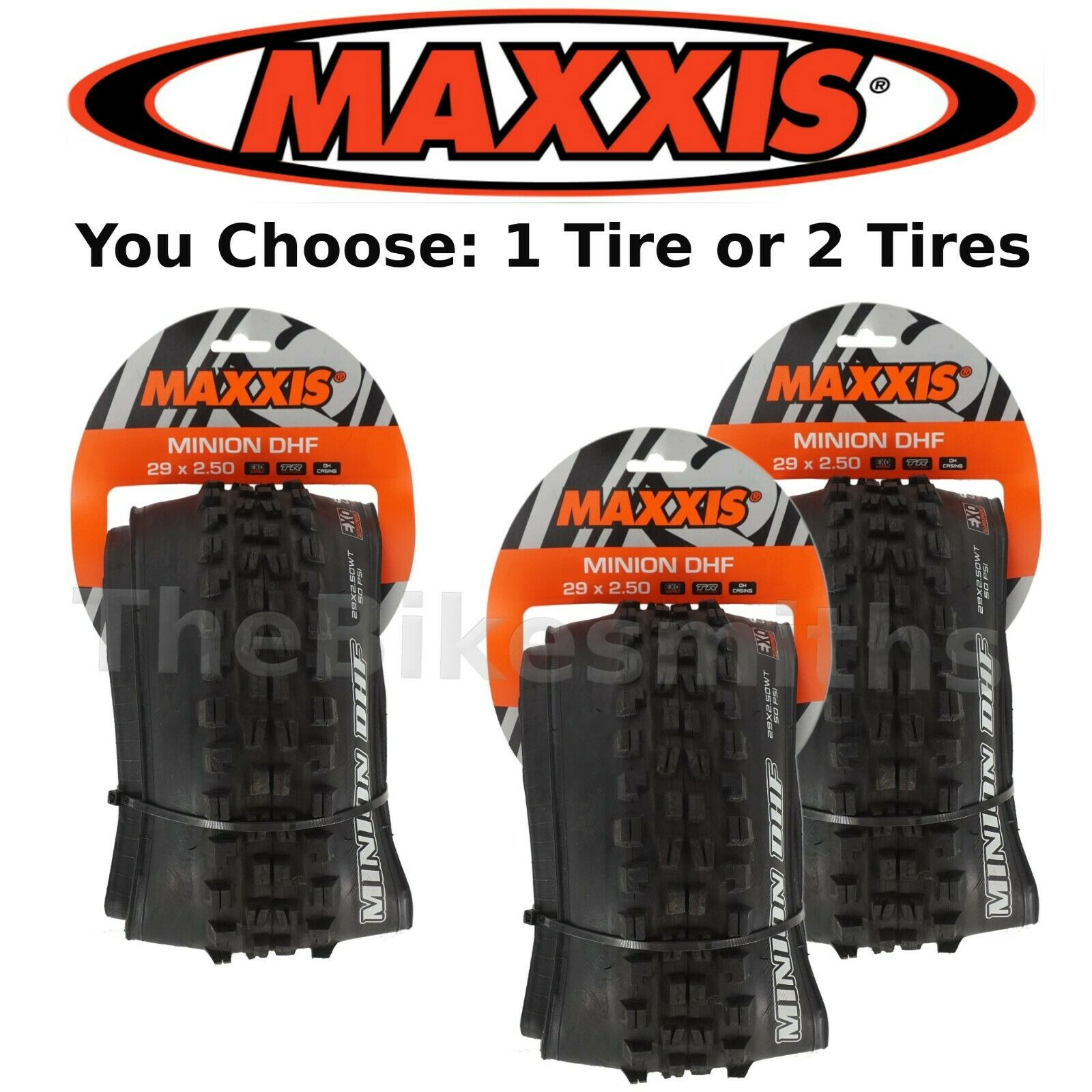 1 or 2Pak Maxxis Minion DHF 29 x 2.50   Tubeless Ready EXO Fold Downhill Bike  sale online save 70%
