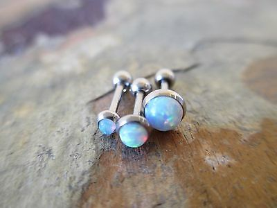 Light Blue Lab Opal Triple Cartilage Tragus Helix Stud Earring Piercing 16G