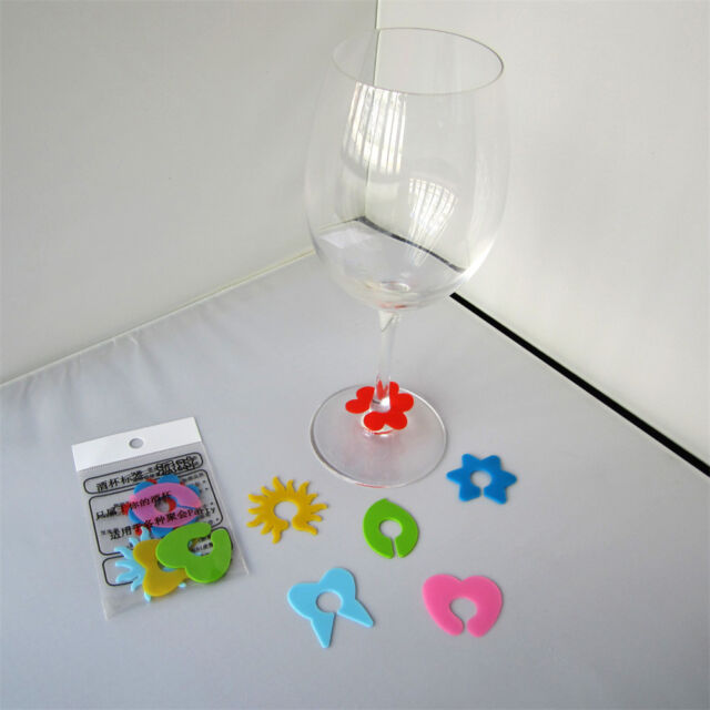 6X Silicone Wine Glass Cup Marker Labels Recognizer Party Drinker Marker Pip UK
