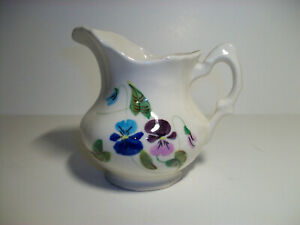 CLOUSE-POTTERY-ERWIN-TENNESSEE-EWER-PITCHER-HAND-PAINTED-PANSY-FLOWERS