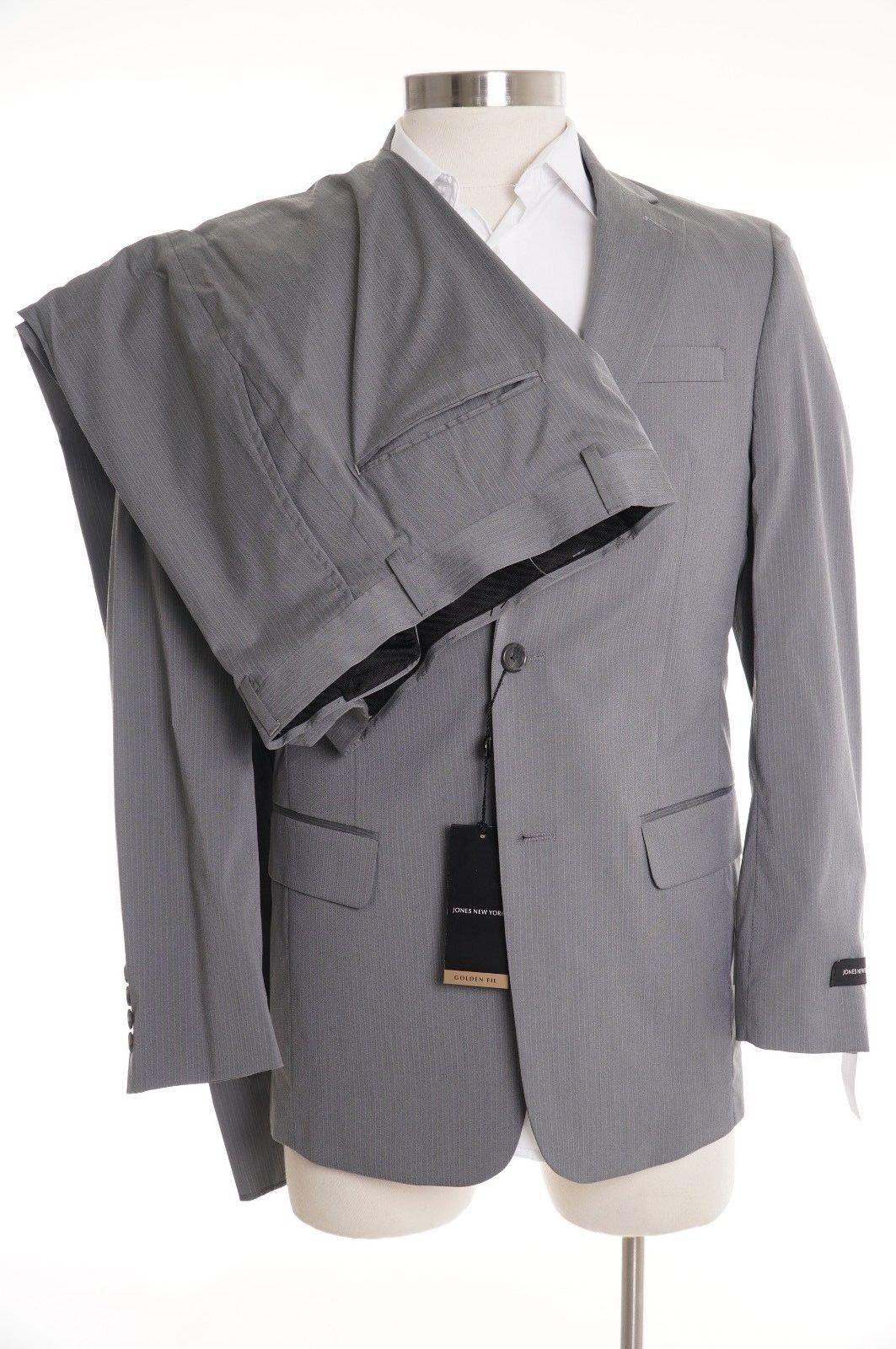 650 Jones New York Classic Fit grau TextuROT Two Button Suit 38R 31.5W