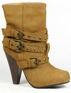 77aaeded2a2 Details about Chestnut Brown Faux Suede Buckle Strap Studded Fashion Ankle  Bootie Boot 6.5 us