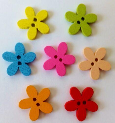 Botones de flor de madera mezcla de 7 Colores 100 un 15mm-UK 2 Agujero-Coser-Cardmaking