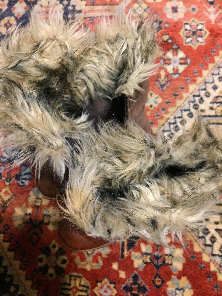 Columbia Invierno Chamonix Shaggy Piel Con Cuero Invierno Columbia Botas Marrón para Mujer 6c2166