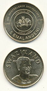 Swaziland-Swasiland-eSwatini-5-Em-2008-UNC-Gedenkausgabe-Unabhangigkeit