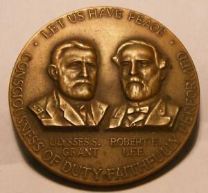 1961-1965 Civil War Generals Grant and Lee Large Bronze Centennial Comm Medal