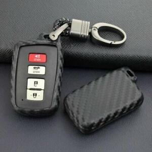Carbon Fiber Smart Key Chain Ring Case Cover Holder For Toyota 4Runner 2012-2021