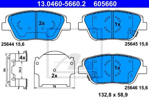 ATE Bremsbeläge Bremsbelagsatz Bremsklötze Vorne 13.0460-5660.2 KIA Optima