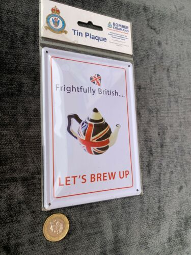 Frightfully British Brew Up Tin Advertising Sign Cafe Plaque Display Signage