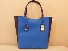 NWT Lauren Ralph Lauren Acadia Tote Shopper Bag Blue & Black Cyan Marine $158