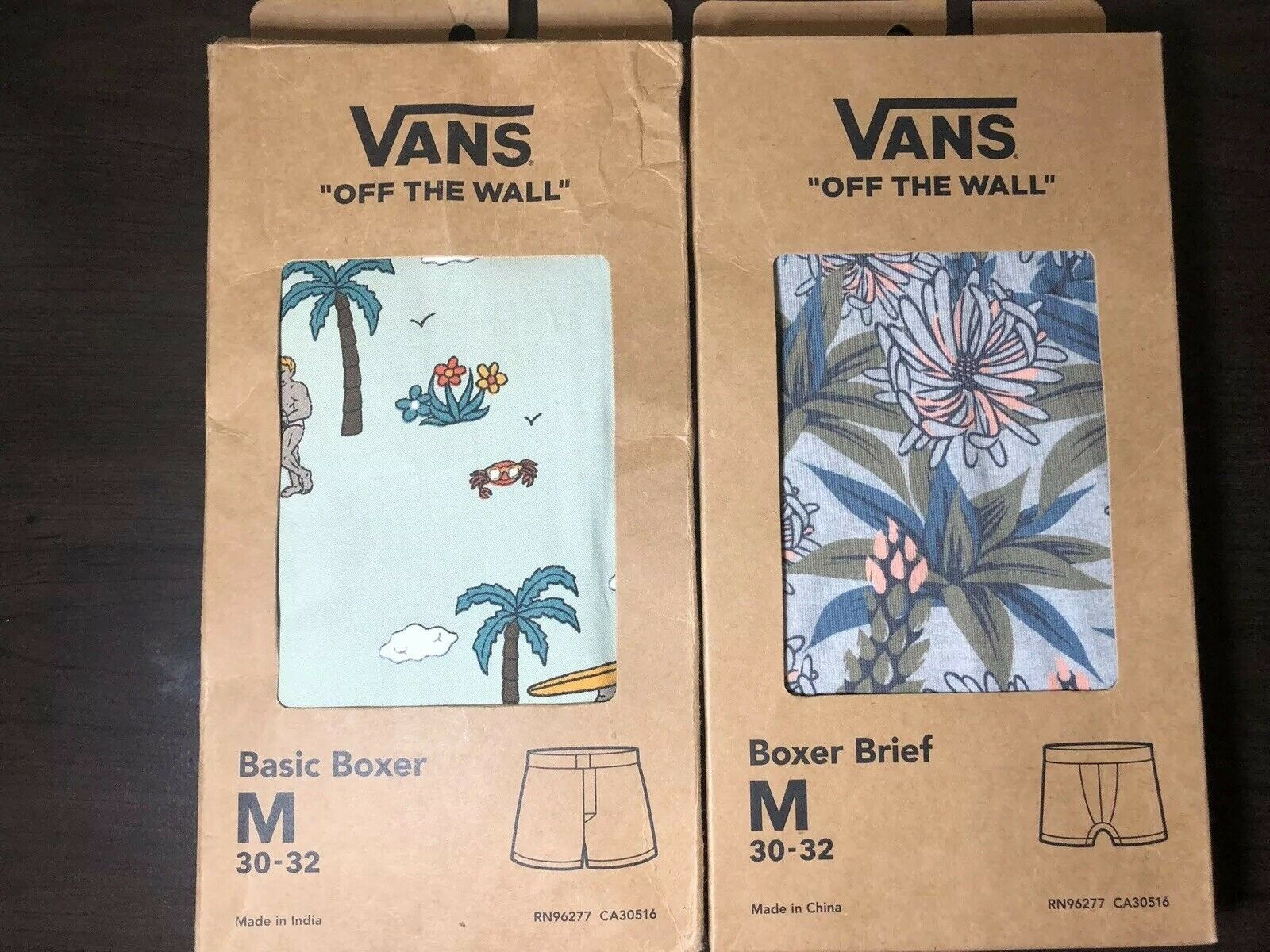 Mens Vans Off the Wall Party Train Basic Boxer Succulent Boxer Brief Skating M