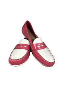 Women's Cole Haan Pink and White Patent Leather Penny ...