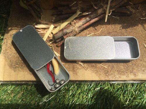 Petit Mini Tin Métal 10 ml Coulissant Couvercle Pêche Stash Survie Camping Micro Tin