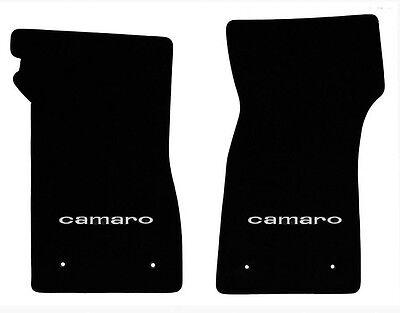 NEW 1967-1969 Camaro Floor Mats Black Set of 2 Carpet Embroidered Script Silver