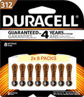Duracell Size 312 Hearing Aid Batteries 16 Total (2x 8 Count) Dated 2020