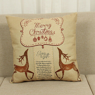 Cotton Linen Christmas Deer Pillow Case Cushion Cover Sofa Home Car Decor