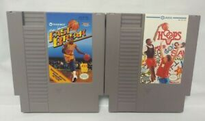 Hoops + Magic Johnson's Fast Break  -  Nintendo NES Authentic Game Tested Works