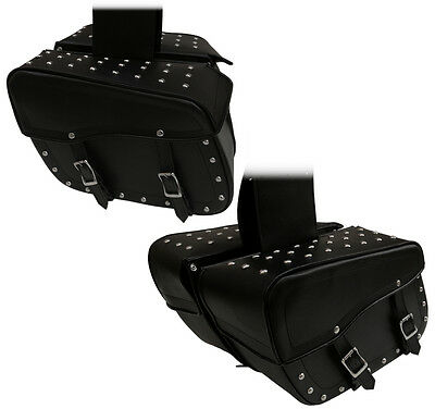 Universal Fitting Heavy Duty PU Leather Studded Quick Release Buckle Saddle Bags
