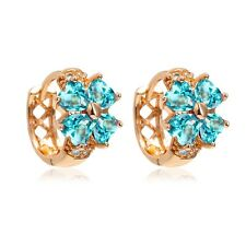 Kids Girl Child 18K Gold Filled Heart Blue Crystal Clover Hoop Earrings Jewelry