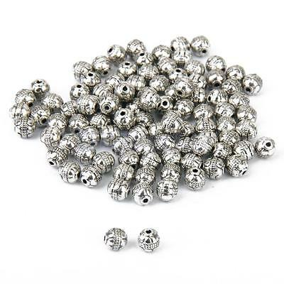 100 Antique Tibetan Silver Charms Spacer Beads DIY Jewelry Bracelet Findings