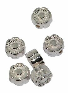 Pack of 4 Large Silver Rhondelle Metal Bead 37887-93