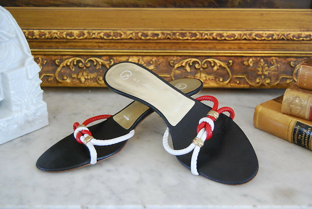 ST. Weiß JOHN COUTURE ROT & Weiß ST. STRAPPY LEATHER GOLD HEEL SANDALS  ITALY SIZE 7 M b2365b