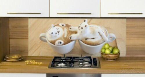 Wallario Küchenrückwand Glas 50x125cm Süße Milchschaum Katzen Kaffee Küche Latte