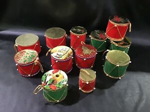 Christmas Drum.Details About Lot Of 12 Vintage Christmas Drum Ornaments With Embellishments Victorian