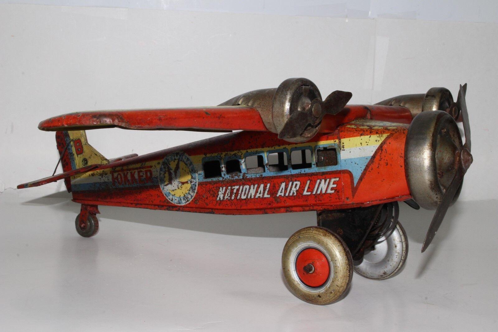 588ms Fabricado en Japón Grande Fokker de Cuerda Tri-Motor Caja Metálica Avión ,