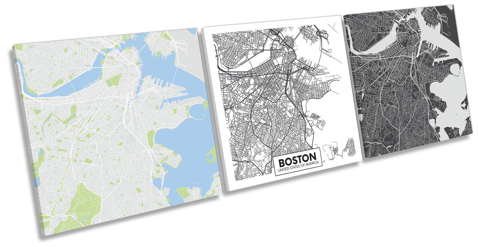 Boston US City Map Set of 3 CANVAS WALL ART Print Treble Multi-Colourot