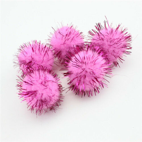 50Pcs Christmas Plush Fluffy Fur Ball Hanging Xmas Party Kid Ornament Decor UK