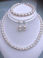 Designer Wedding Jewelry Set Freshwater Pearl & Diamante Sterling Silver Derby