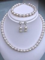 Designer Wedding Jewelry Set Freshwater Pearl & Diamante Sterling Silver Derby