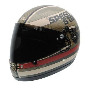 Image Is Loading Helmet Nzi Custom Cafe Racer Street Track Gannet