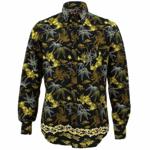 Mens Loud Shirt Retro Psychedelic Funky Party TAILORED FIT Abstract Floral