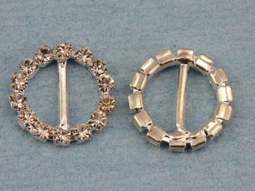 10 Pieces 15mm Round Crystal Rhinestone Ribbon Buckles