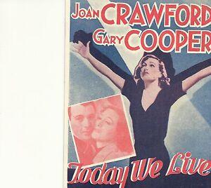 TODAY-WE-LIVE-1933-JOAN-CRAWFORD-amp-GARY-COOPER-ORIGINAL-PRESSBOOK-HERALD