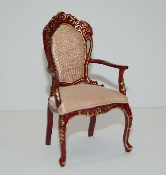 1 12th Scale Mahogany Carver Chair  Beautifully Hanpainted By Jia Yi