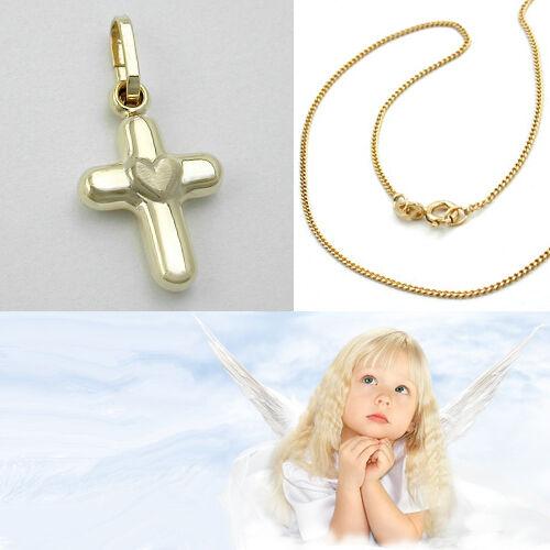 8 KT mit 36cm Kette Silber 925 vergoldet Kinder Kreuz mit Herz Echt Gold 333