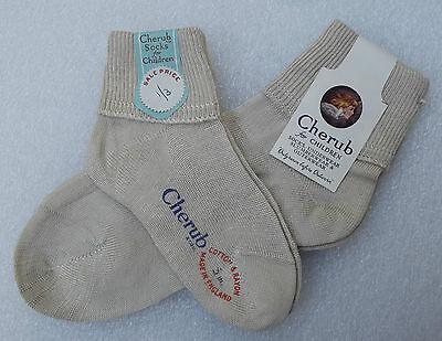 CHERUB short ankle socks Boys or girls Vintage 1950s UNUSED cotton/rayon BEIGE