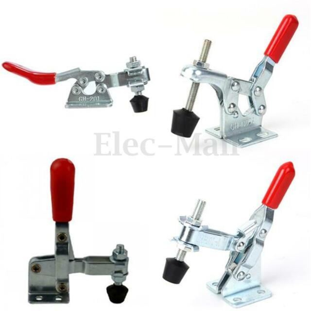 2pc 27Kg 60 Lbs Holding Capacity Metal Horizontal Toggle Clamp Flanged Base 201A
