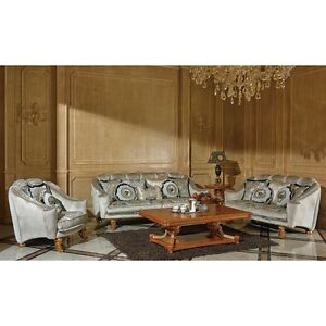 Exklusive Couchgarnitur Grau Silber 3 2 1 Sofa Set Sitzgarnitur Ebay