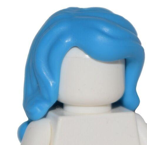 ☀️NEW Lego Minifig Hair Female Girl Hot Bright Blue Azure Long Wavy w// Side Part