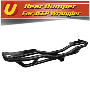 Fits 2007-2018 Jeep Wrangler JK Off Road Tubular Textured Black Rear Bumper