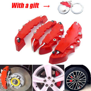 2 Pairs 3D Red Style Car Universal Disc Brake Caliper Covers Front /& Rear Useful