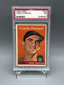 1958-TOPPS-BASEBALL-CAMILO-PASCUAL-PSA-7-NM-219-WASHINGTON-SENATORS