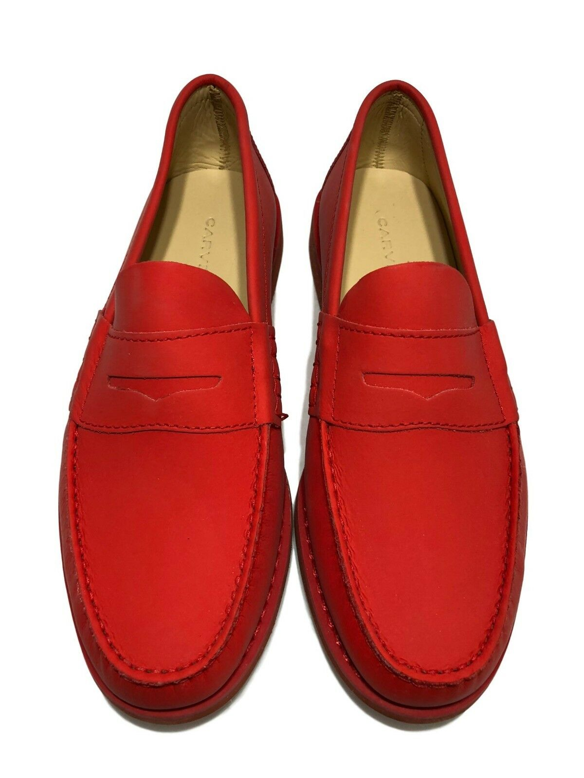 NEW, CARVEN MEN'S RED LEATHER LOAFERS, 42,