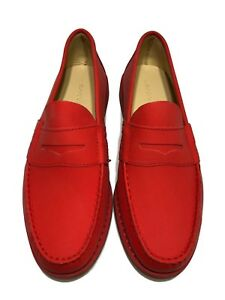 NEW-CARVEN-MEN-039-S-RED-LEATHER-LOAFERS-42-695